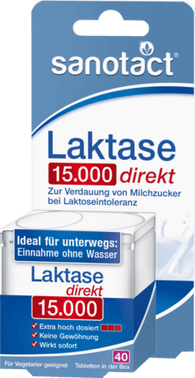 Lactase 15,000 tablets for lactose intolerance, 40 Tablets - Sanotact