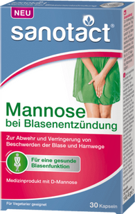 Mannose for defense and reduction of bladder problems, 30 capsules - Sanotact