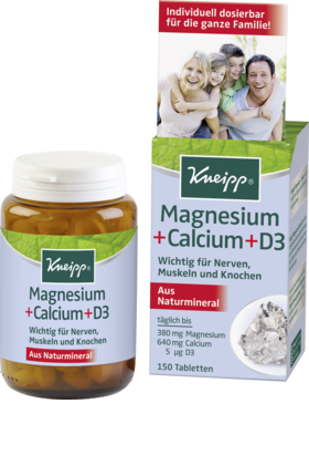 Magnesium + calcium + vitamin D3 tablets, 150 tablets - Kneipp