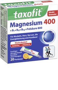 Magnesium 400 + Vitamin B1 + B6 + B12 + Folic Acid 800 Direct granulate, 20 Packets - Taxofit