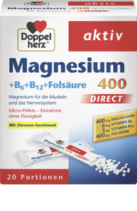 Magnesium 400 + Vitamins B6 + B12 + Folic acid Direct granules, 20 Packets - Doppelherz