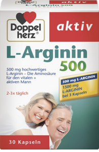 L-Arginin 500 Capsules (also for sexual performance and building muscle), 30 Capsules - DOPPELHERZ