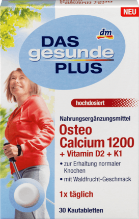 Osteo Calcium 1200 + Vitamin D2 + K1, 30 tablets - Das gesunde Plus
