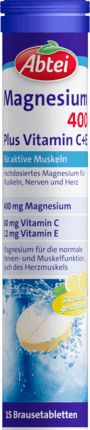 Magnesium 400 Plus Vitamin C + E Fizzy tablets, 15 Fizzy tablets - Abtei
