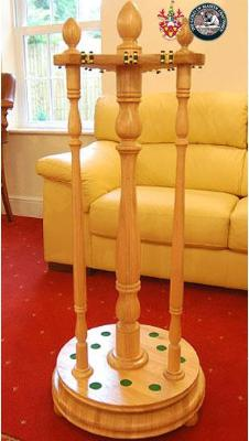 Hand Made and hand carved revolving cue rack
