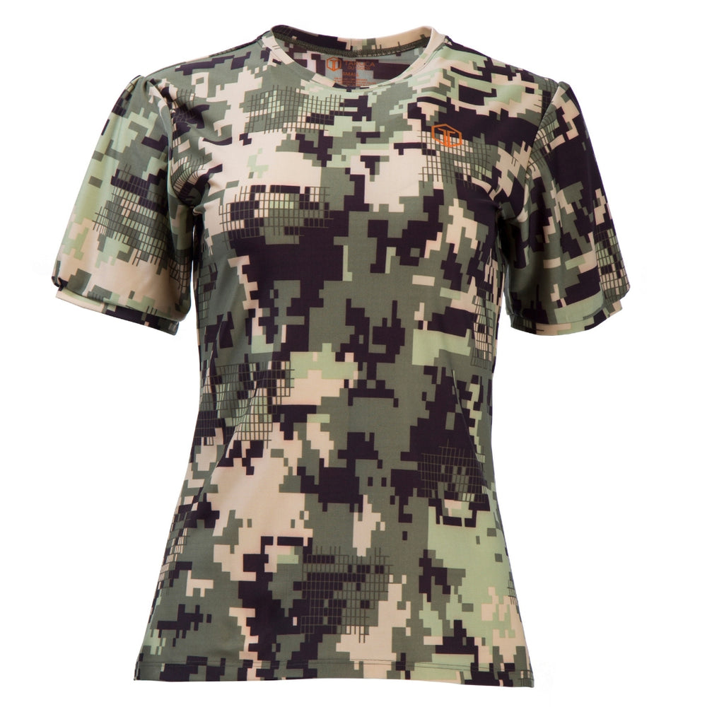 front-view of a flattering camo top for women