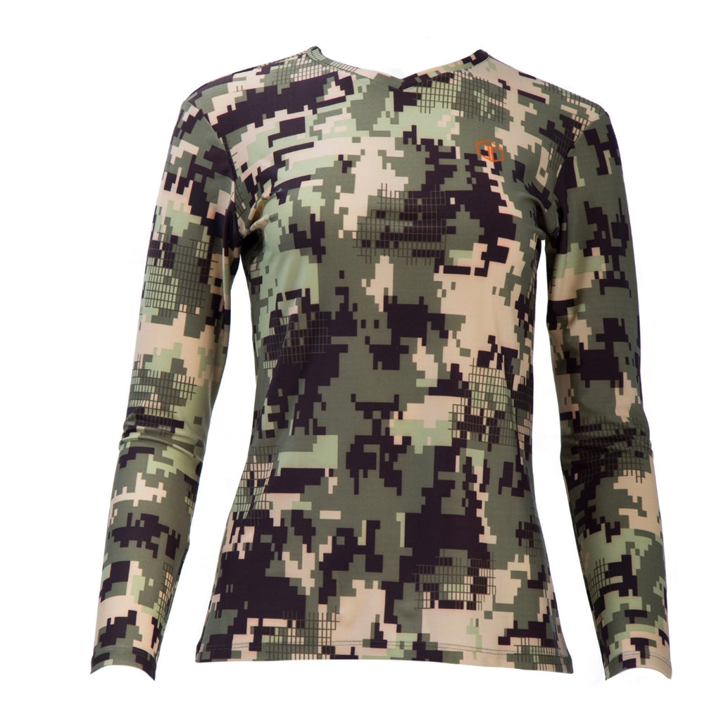 front-view of beautiful, long-sleeved women's camo V-neck