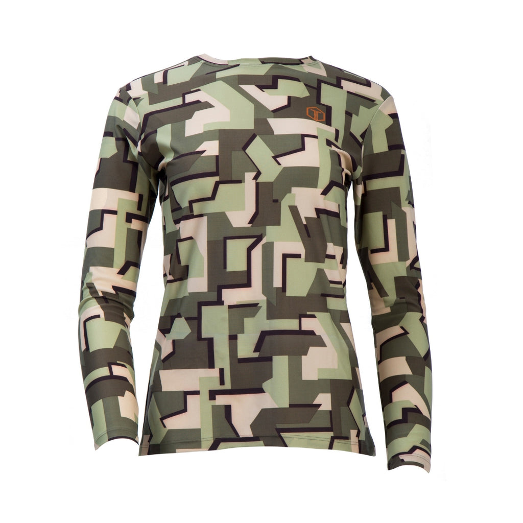 Women's Geo Camo Crew Neck Top