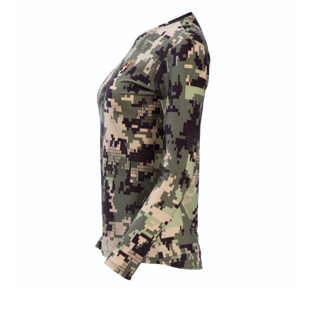 side-view of beautiful, long-sleeved women's camo V-neck