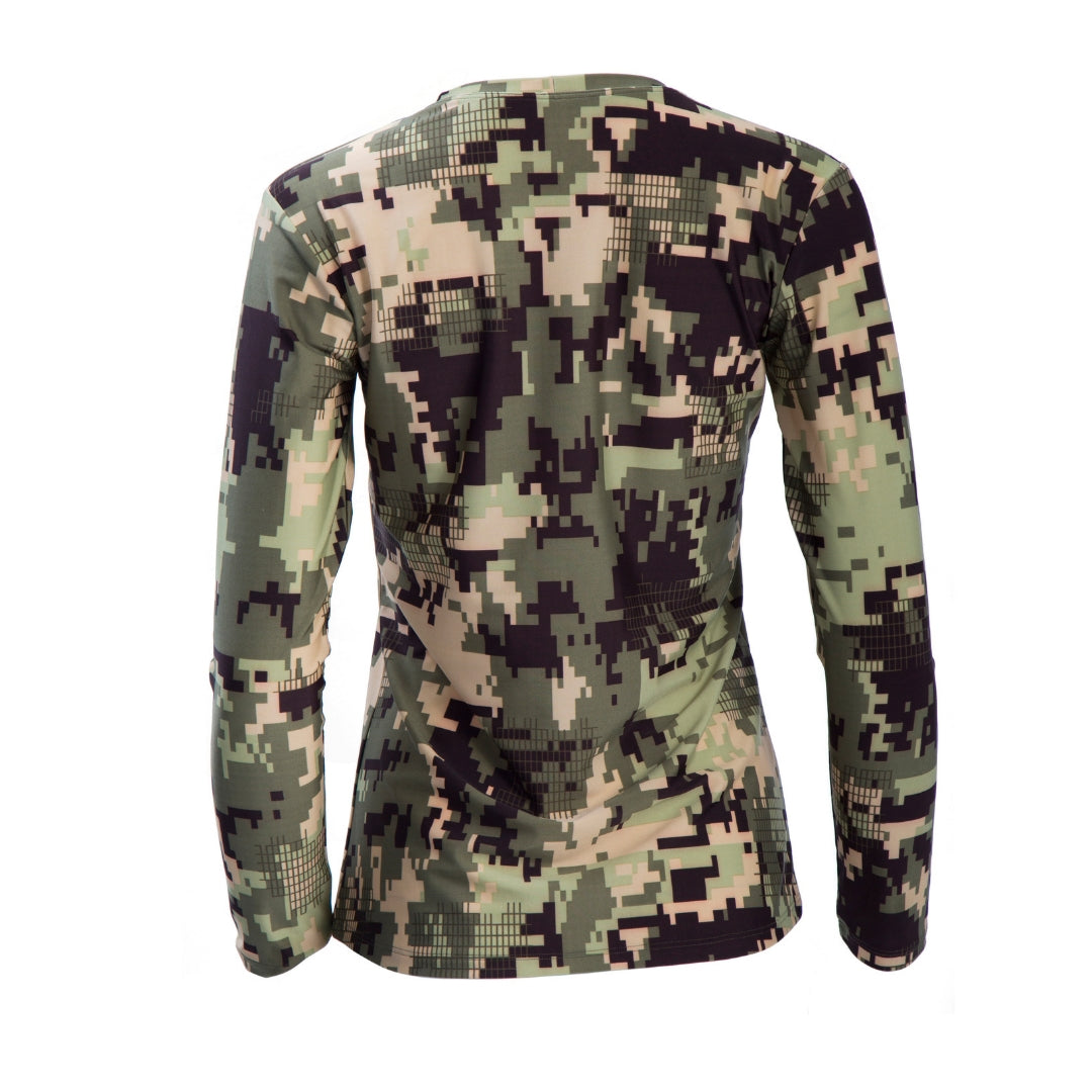 back-view of beautiful, long-sleeved women's camo V-neck