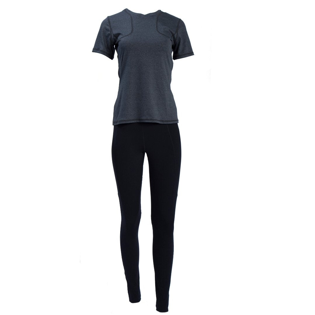 full length view of black concealed carry leggings and gray women's shooting shirt