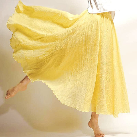 Linen Long Skirt - Yellow