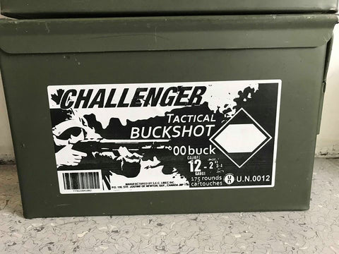 "12 GAUGE - CHALLENGER TARGET BUCKSHOT, 2-3/4"" 00-BUCK 9-PELLET CAN OF 175 SHELLS"