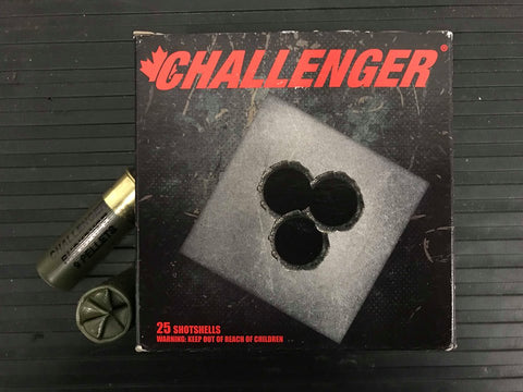 "12 GAUGE - CHALLENGER TARGET BUCKSHOT, 2-3/4"" 00-BUCK 9-PELLET BOX OF 25 SHELLS"