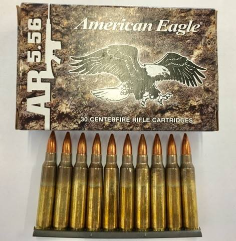 30RNDS of American Eagle 62Gr 5.56x45 FMJ W/3 Stripper Clips