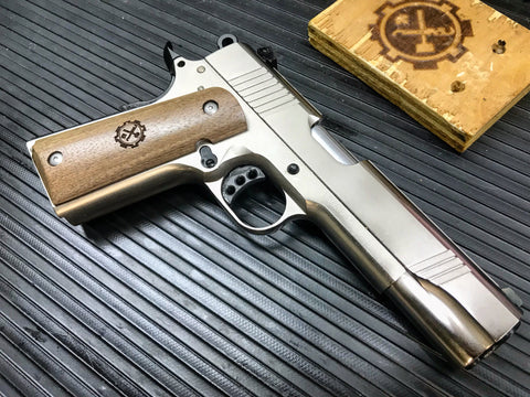 Nickel-Plated Norinco NP29 9mm 1911, Peruvian Walnut, DLC, Wilson Combat