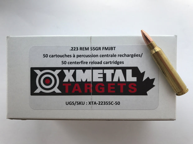 X-Metal Targets .223Rem 55gr FMJ-BT Reloaded (50rnds)