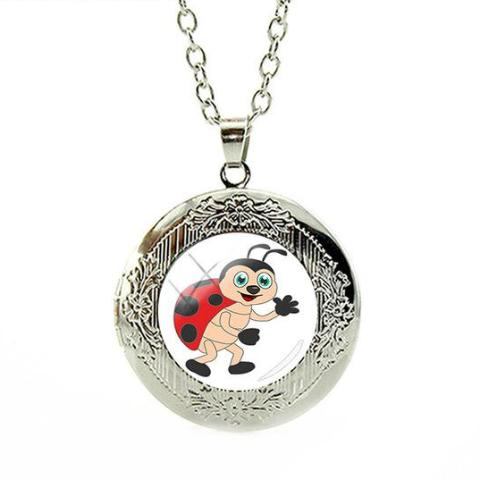 Jeanniebug Necklace Silver Locket Charm Necklace