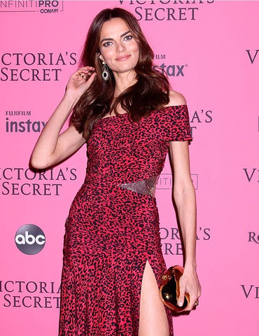 Barbara Fialho wearing Lilly Street Radiance Valiance II Earrings with the Radiance Helios Jackets at the Victoria Secret Fashion Show Pink Carpet After Party