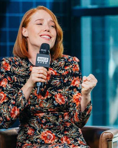 Jessica Wynn Keenan on AOL Build Speaker series wearing Lilly Street's Radiance Night Sky earrings