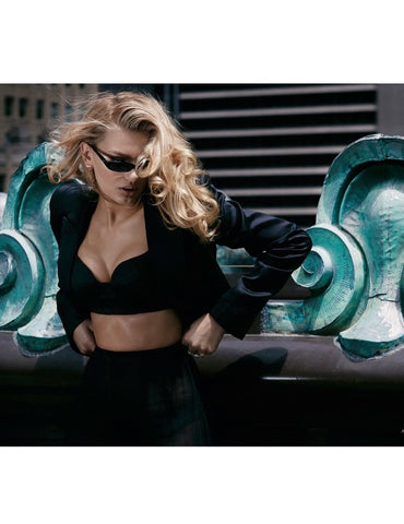 Model Bregje Heinen wearing Lilly Street's Radiance Corset earrings and Radiance Triumph ring for Modeliste Magazine