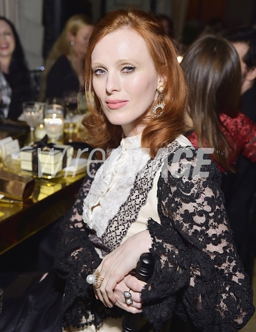 Karen Elson wearing Lilly Street's Radiance Sea Queen Ring and the Radiance Valiance Earrings with the Helios Chain Jackets to the launch of her collaboration with Jo Malone