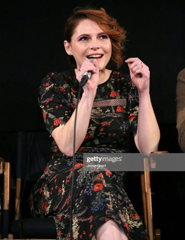 Actress Amy Seimetz wearing the Radiance Valiance Earrings to the LA screening of her new film, Pet Sematary