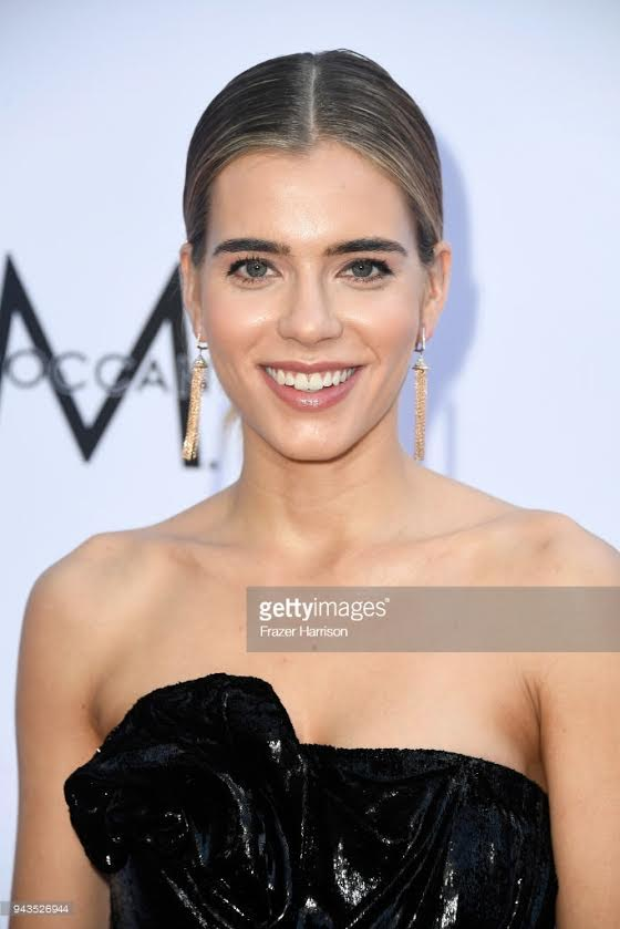 Model Sif Saga wearing Lilly Street Valiance Sway Earrings at the Daily Front Row Fashion Awards in LA, April 8, 2018