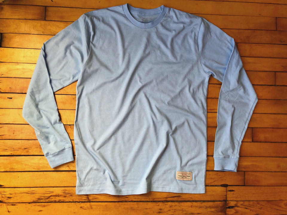 """the original 2.0"" long sleeve t in chance blue"