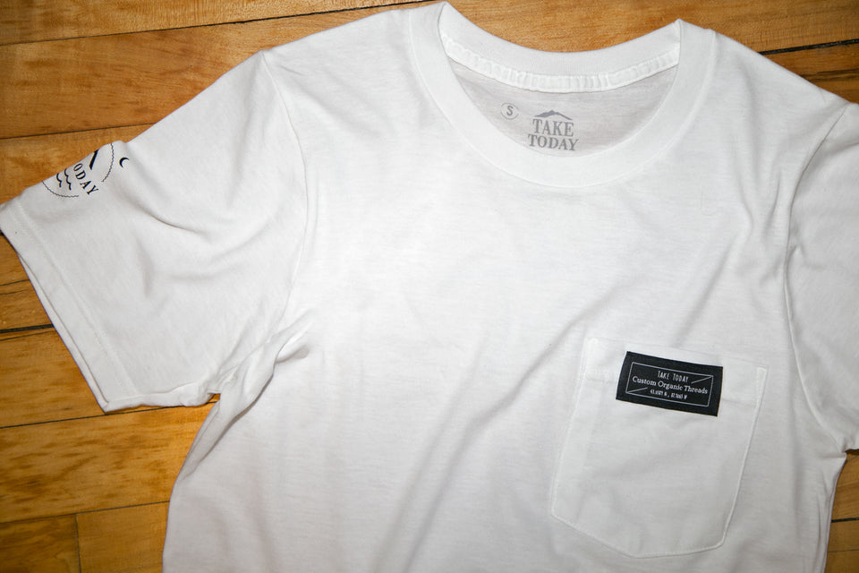 """lower east side"" pocket t in white - Take Today Community"