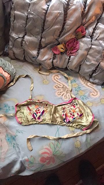 Embroidered Rayon WWII Souvenir Lingerie Top