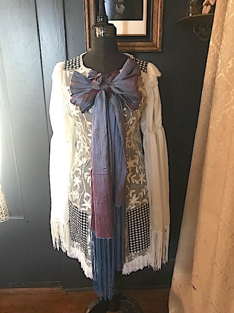 Coming Soon Fringy White and Gingham Touring Jacket Iridescent Fringy Pussy bow Antoinette Cowboy Sleaves