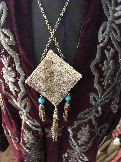 Hollywood Babylon Elizabeth Taylor Style Cleopatra Bohemian Egyptian Revival Snake Necklace Goldtone with Encrusted Jewels