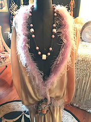 SOLD Marion Davies style Necklace Rare 1920's Pink Orginal Beaded Necklace Unique OOAK