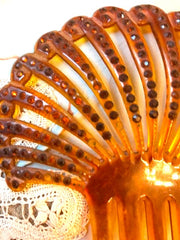 Flapper Celluloid 192o's Celluloid Hair Comb Fan with Topaz stones Fabulous