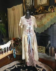 "SOLD ""CLASSIC"" Extra Long Extended version Boudoir Queen Original Bed Jacket as seen in ELLE / VOGUE 100 year old Edwardian Lace"