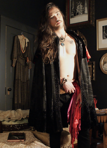 All Hail Heavy Black Jet Avant Garde Ritual Victorian Cloak or Cape with Red Satin Detail Penny Dreadful  Warlock Vibes