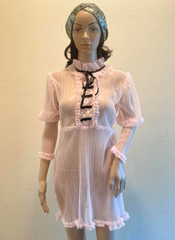 New Arrival Boudoir Bedecked Hoyden's Dress Royal Label Pale Pink and Black Satin Ready to ship