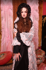 Cherry Blossom Hooded Jacket with Victorian Tissue Silk Ruff Trim