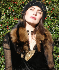 Clip on Fur Stole Stone Martin Vintage 1930's 1940's Bonnie and Clyde