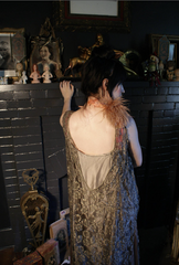 "Metallic Lace and Flower Feather dress 20s ""Self-love, my liege i not so vile a sin as self neglecting Dauphin in Henry V Shakespeare"