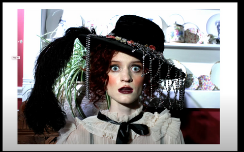 Marchesa Casati Inspired Authentic Edwardian floral Black Velvet Hat with Edwardian Feather