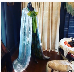 Designer Pick Boudoir Bedecked Hoyden's Long reversible Silver Sequin cape with pockets and 60's grean floral fabric with ties