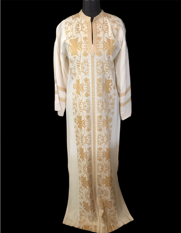 Gorgeous Gold embroidered Motif and Creme Vintage Caftan