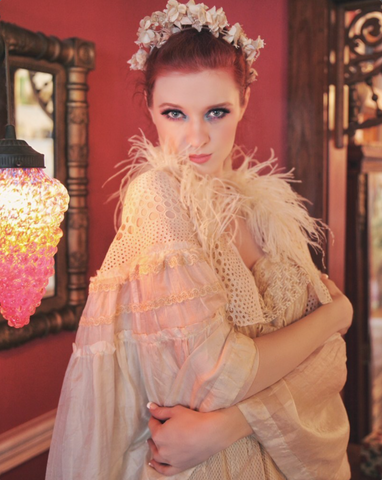 Gorgeous Boudoir Queen Tissue Silk Feathered Bed Jacket as Seen In Vogue