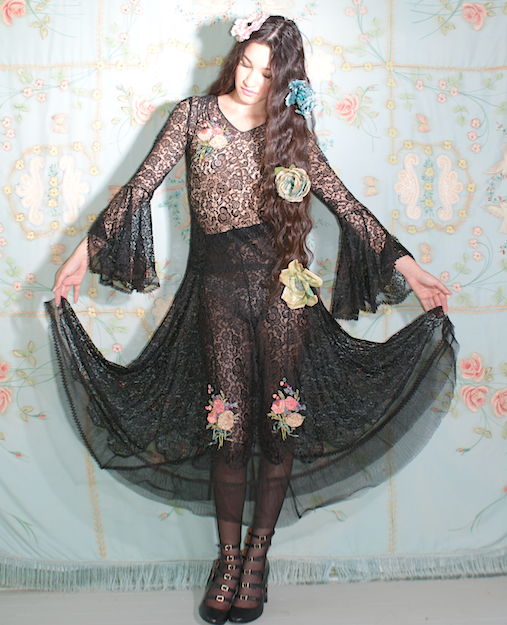 Rare 1920's Lace and Net Ribbonwork Dress Flapper