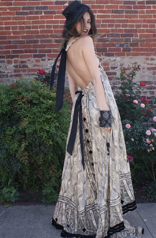 A KEIERA Backless Halter Dress Victorian Dress all Victorian Textiles Made from a Victorian Gown fabulous