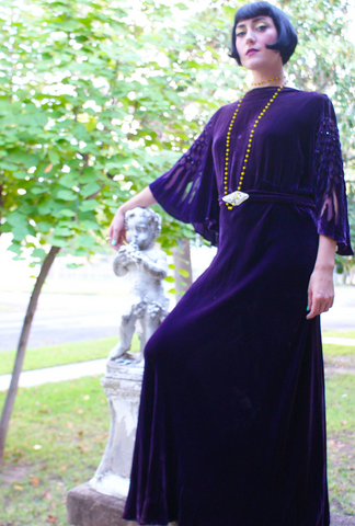 1920's Silk Velvet Gown Condition Lovely as found