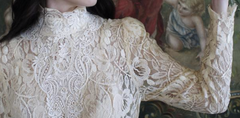 Vintage 70s JESSICA McCLINTOCK Victorian Cream Venise Lace Padded shoulders