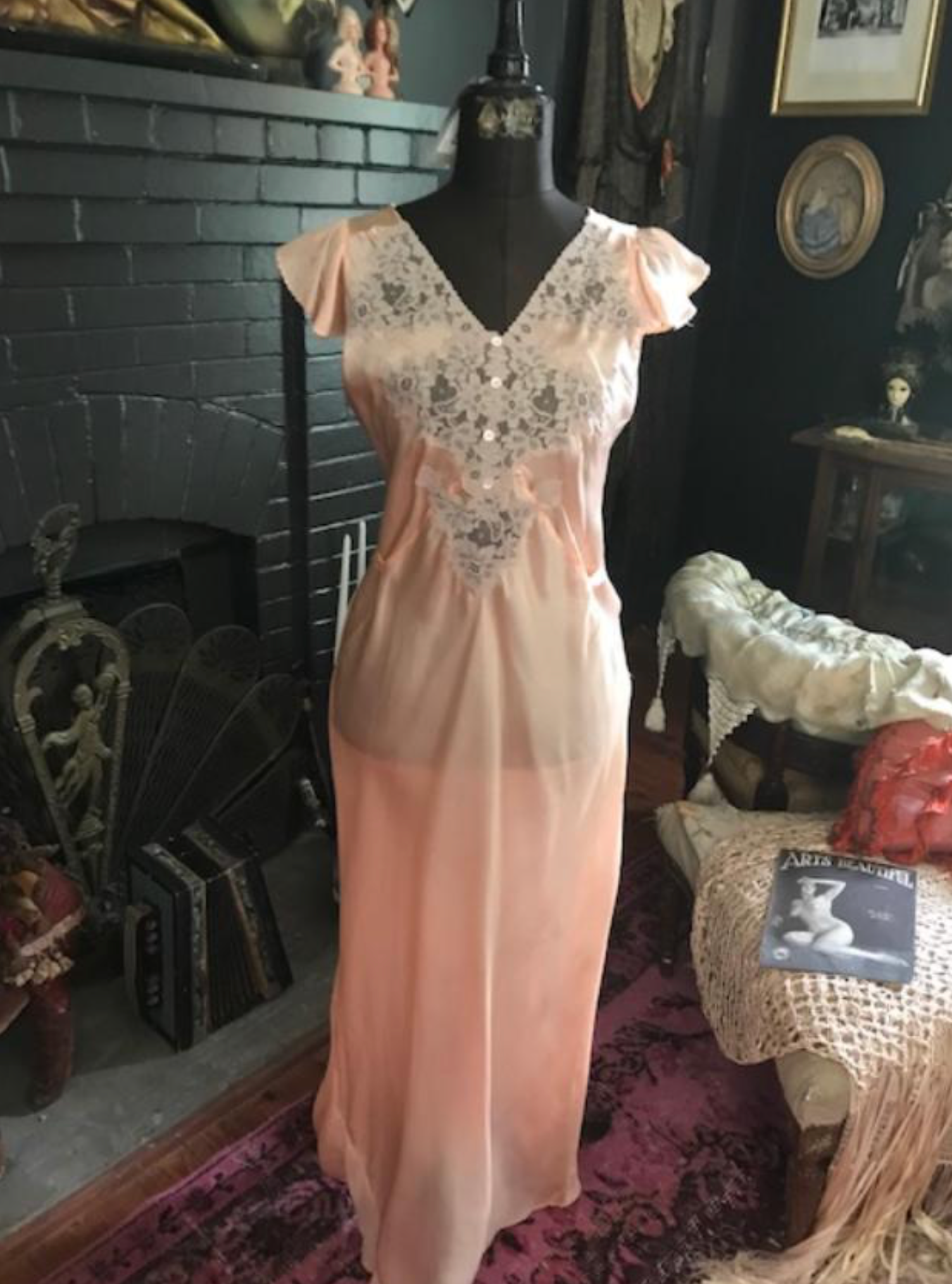 1930s Peach Slip Dress New arrival
